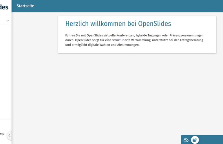 OpenSlides als virtuelle Begleitung von Konferenzen, Mitgliederversammlungen und Tagungen
